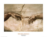 Michelangelo Creation of Adam Inset Art Print Poster Prints