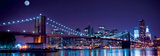 Brooklyn Bridge and Manhattan Skyline with a Full Moon Overhead-New York Print by  Littleny