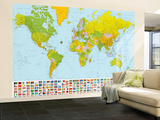 Map of the World with Flags Huge Wall Mural Art Print Poster Vægplakat i tapetform