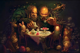 Alice Tea Party Fantasy Art Print Poster Prints