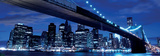 Brooklyn Bridge and Manhattan Skyline at Night-New York Prints by Songquan Deng
