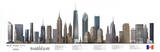New York City Illustrated Panorama Skyscraper Art Print Poster Print