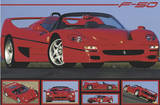 Ferrari F50 (Automobile Photographs) Art Poster Print Poster
