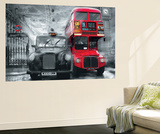 London Taxi and Bus Mini Mural Huge Poster Art Print - Duvar Resimleri