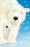 Fluffy Polar Bears (Mom and Cub) Art Poster Print Poster