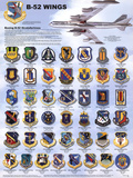 Laminated B-52 Wings Stratofortress Airplane Military Chart Poster Print
