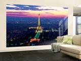 Paris Lights Eiffel Tower Vægplakat i tapetform