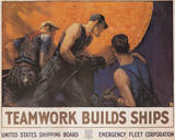 Teamwork Builds Ships Vintage Ad Art Print Poster Poster
