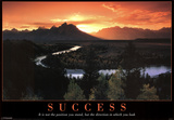 Success Mountains and Stream Motivational Poster Print Prints