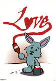Love Bunny with Paint Can Art Print Poster Prints