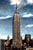 NY Mosaic Empire State Building at Daytime Art Print Poster Posters