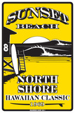 Sunset Beach North Shore Hawaiian Classic 1969 Cartel de metal