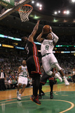 Boston, MA - June 03: Rajon Rondo and Dwyane Wade Photographic Print by Jim Rogash