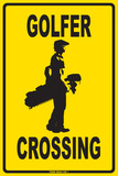 Golfer Crossing Tin Sign