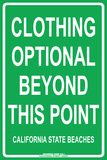 Clothing Optional Beyond this Point  California State Beaches Tin Sign