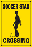 Soccer Star Crossing (Boy) Plaque en métal