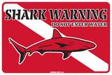 Shark Warning Do Not Enter Water Plakietka emaliowana