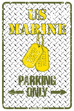 US Marine Parking Only Tin Sign