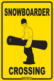 Snowboarder Crossing Tin Sign