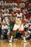 Miami, FL - May 28: LeBron James and Rajon Rondo Photographic Print by Issac Baldizon