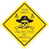 This Area Protected by Pirates Tin Sign