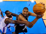 Oklahoma City, OK - June 2: Tim Duncan and Kendrick Perkins Photographic Print by Larry W. Smith