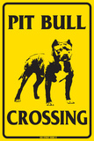 Pit Bull Crossing Tin Sign