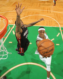 Boston, MA - June 3: Rajon Rondo and Udonis Haslem Photographic Print by Brian Babineau
