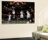 Boston, MA - June 3: LeBron James and Brandon Bass Poster by Brian Babineau