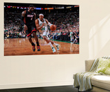 Boston, MA - June 3: Paul Pierce and LeBron James Wall Mural by Brian Babineau