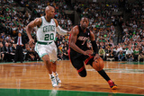 Boston, MA - June 3: Dwayne Wade and Ray Allen Fotografisk tryk af Brian Babineau