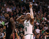 Boston, MA - June 03: Rajon Rondo and LeBron James Photographic Print by Jim Rogash