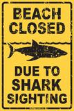 Beach Closed Due to Shark Sighting - Metal Tabela