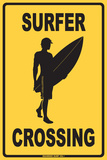 Surfer Crossing Tin Sign