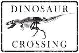 Dinosaur Crossing Plaque en métal