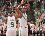 Boston, MA - June 3: Kevin Garnett and Rajon Rondo Photographic Print by Jesse D. Garrabrant