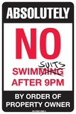 Absolutely No Swimsuits After 9PM Tin Sign