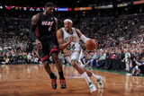 Boston, MA - June 3: Paul Pierce and LeBron James Photographic Print by Brian Babineau
