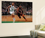 Boston, MA - June 3: Dwayne Wade and Ray Allen Print by Brian Babineau