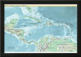Map of Central America and the Caribbean (Political) Art Poster Print Prints