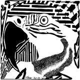 Parrot Parakeet Maze Psychedelic Art Puzzle B Affiches par Yonatan Frimer