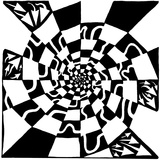 Checkers Swirl Maze Visual Illusion Prints by Yonatan Frimer