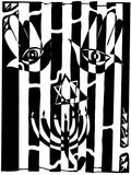Happy Hamsa Menora Star of David Maze Mazes Prints by Yonatan Frimer