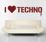 I Love Techno Wall Decal