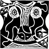 Bull Charging Bloodshot Eyes Rorschach Maze Affiche par Yonatan Frimer