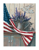 Flag & Purple Flowers Poster von T. C. Chiu