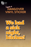 Hangover Vinyl Sticker Stickers
