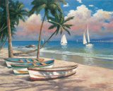 Three Boats On Beach Poster by Tan Chun