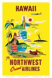 Northwest Orient Airlines, Hawaii c.1960s Affiches