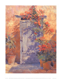 Bougainvillea Round Blue Door Art by Jackie Simmonds